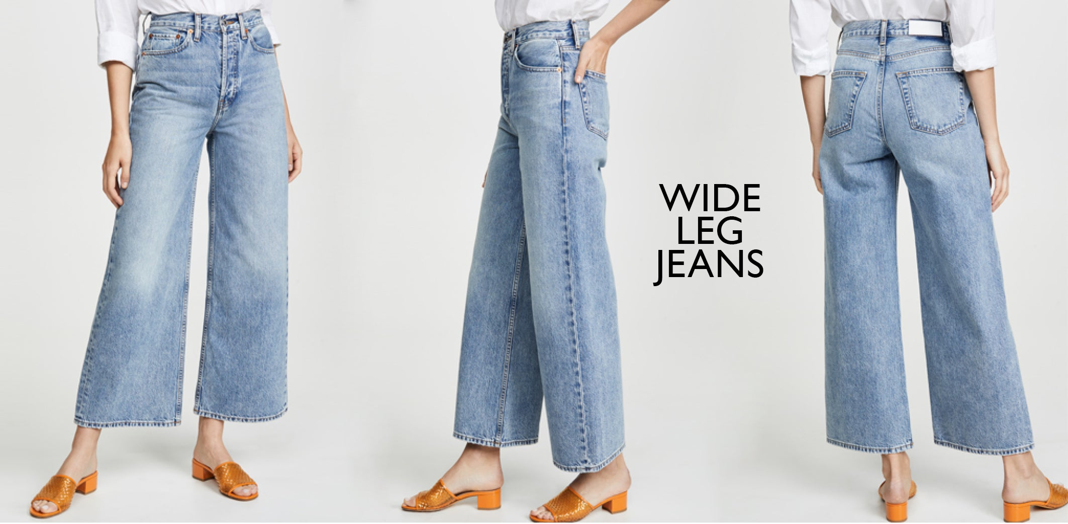 Re Done - Wide leg blue jeans 60s ultra high rise