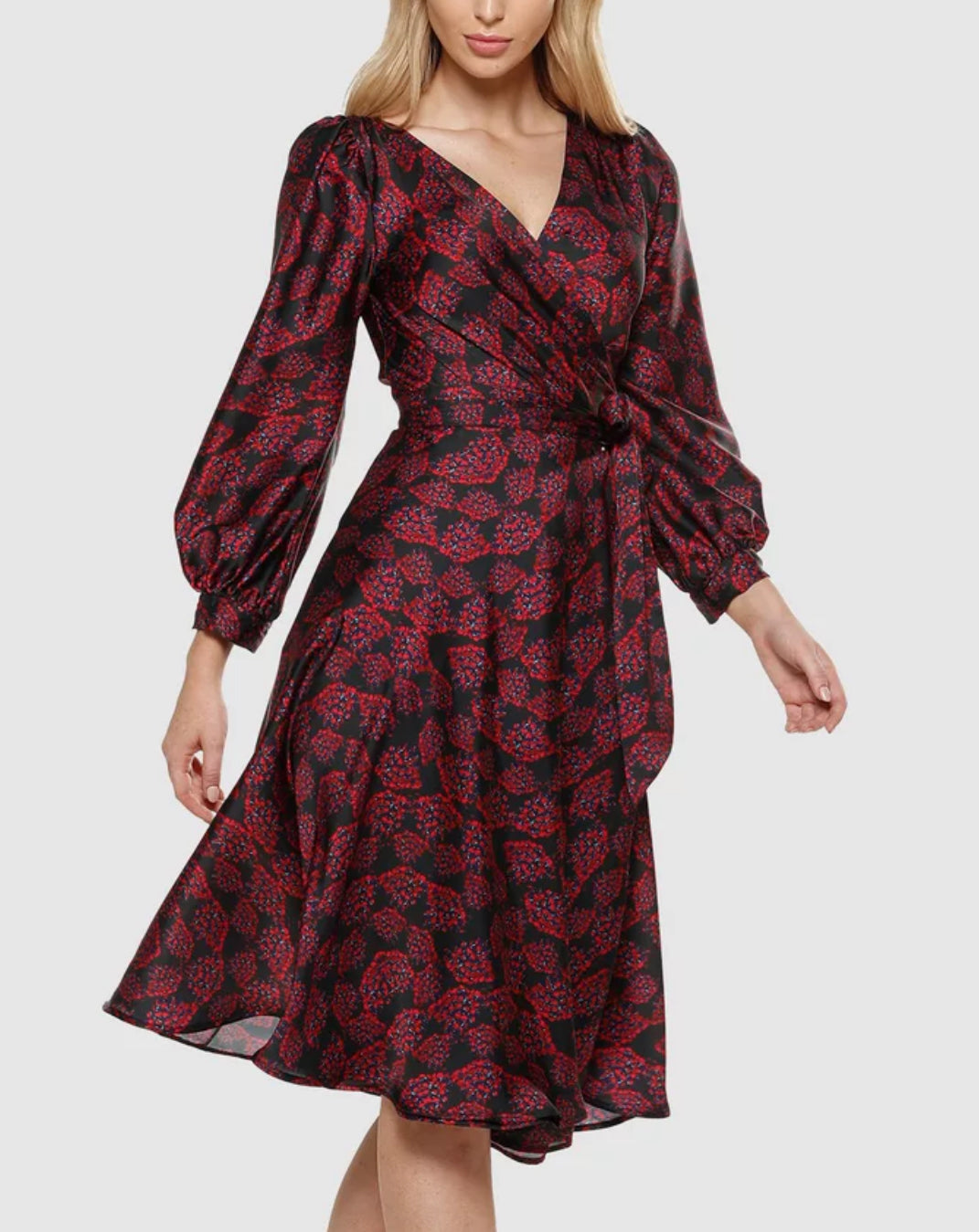Sacha Drake - Tina wrap dress in burgundy floral print