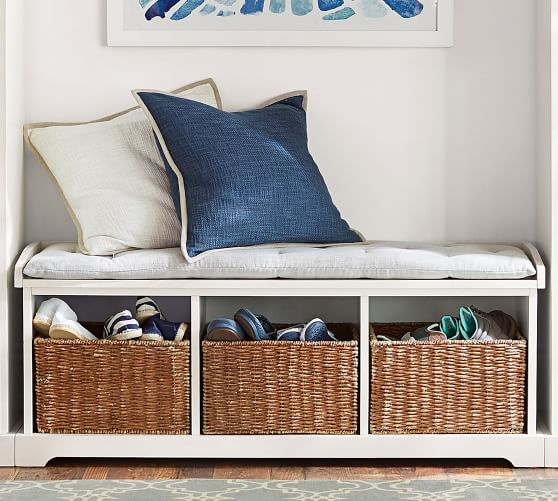 Shoes storage - Pottery Barn - Samantha bench antique white with baskets