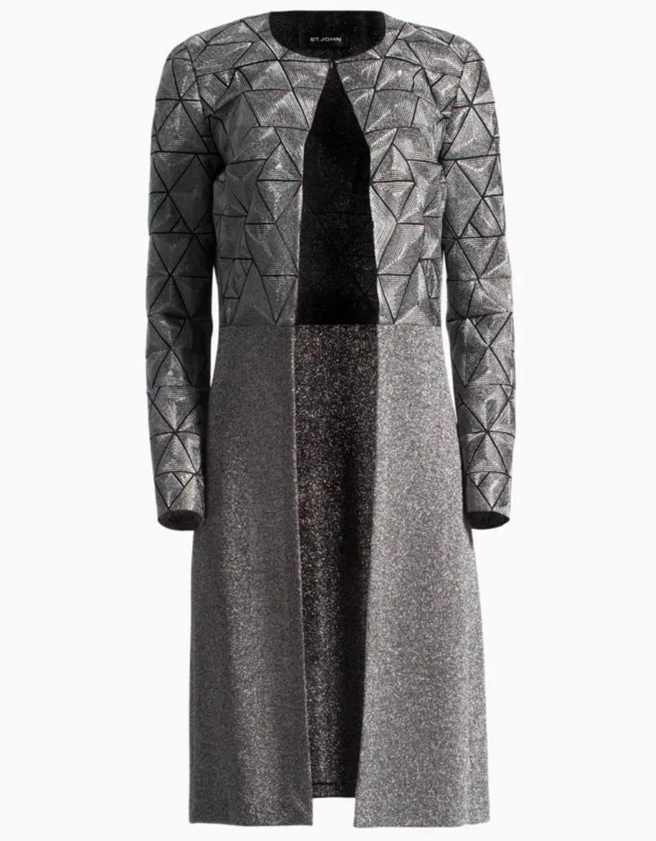 St John - Grey gray coat embroidered silk organza topper
