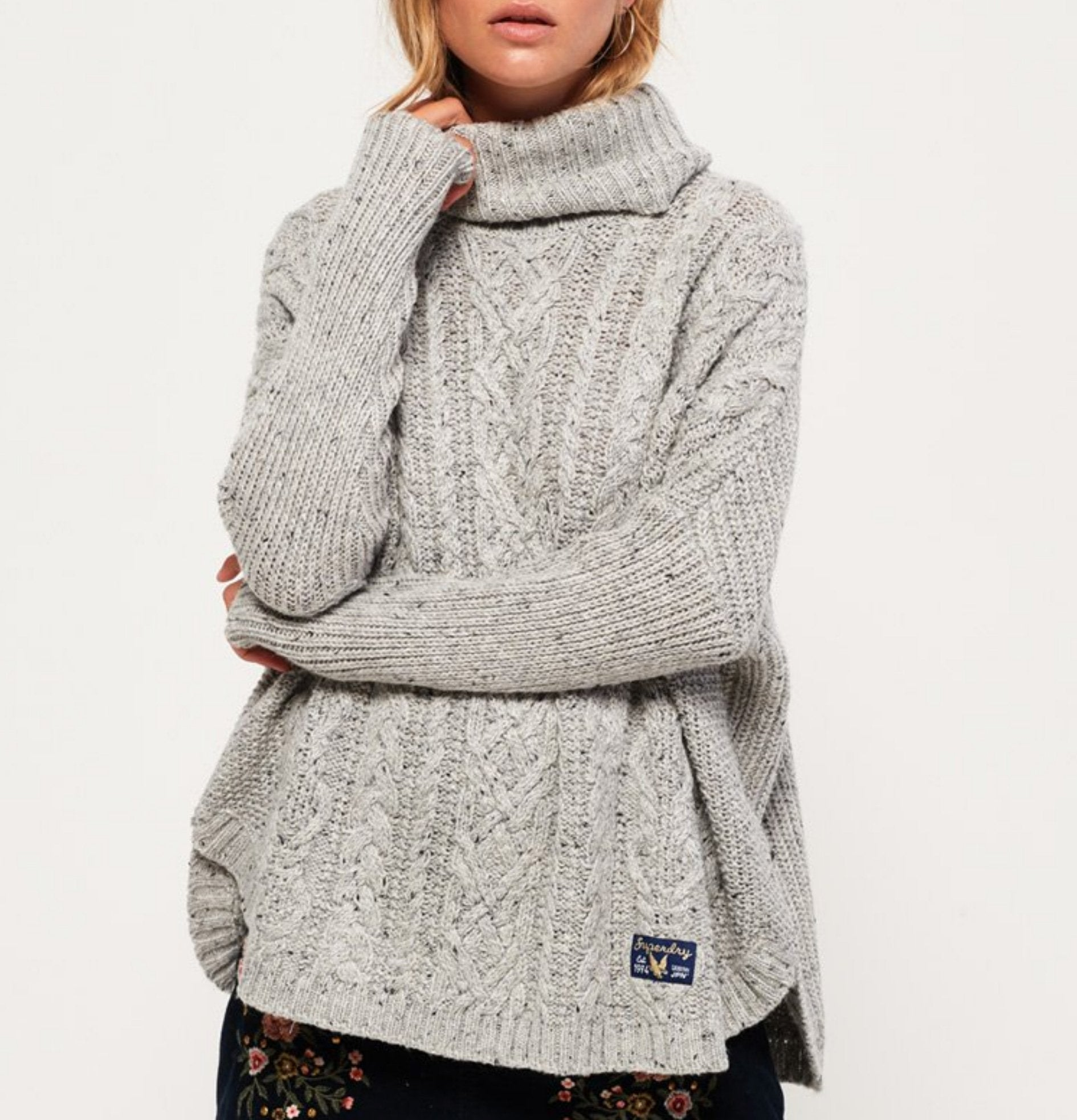 Superdry - pia nep cable cape sweater jumper