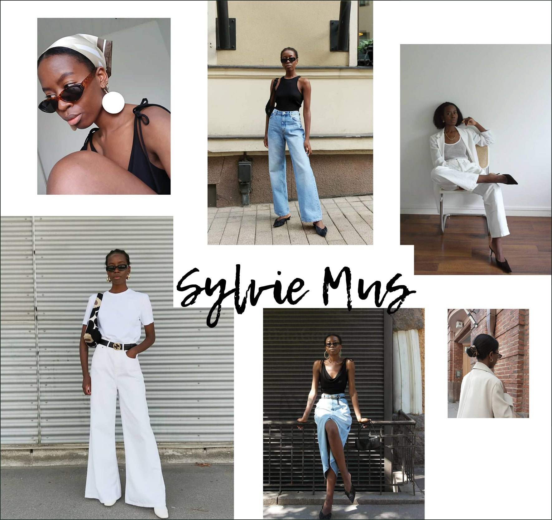 Collage of images of style influencer Sylvie Mus - Instagram feed of sylviemus_ featured in OwnMuse Style Muse