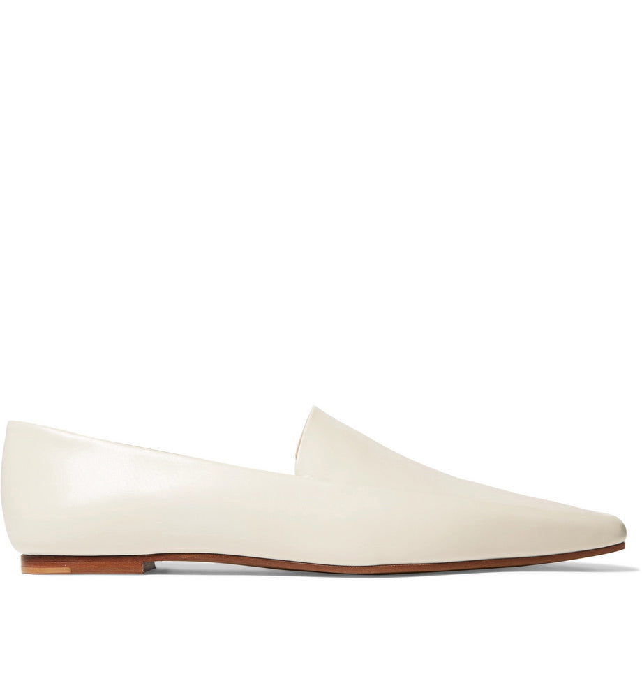 The Row - white neutral minimal leather loafers flat shoes