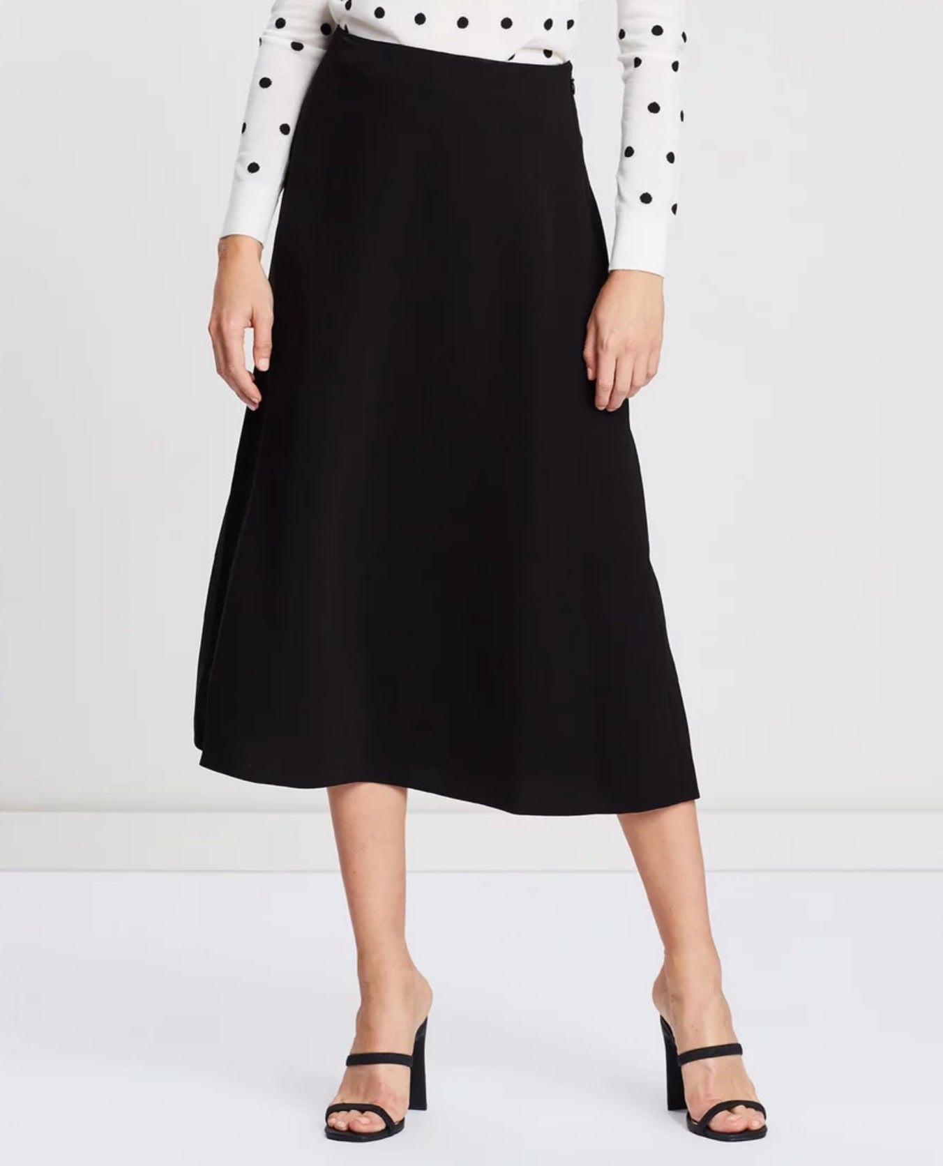 Theory - Black midi skirt capsule wardrobe collection