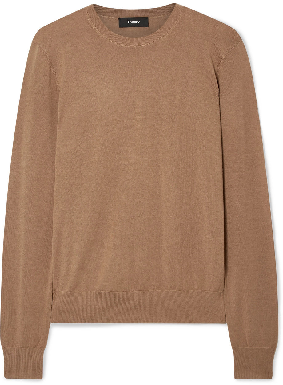Theory - Wool blend neutral round neck sweater