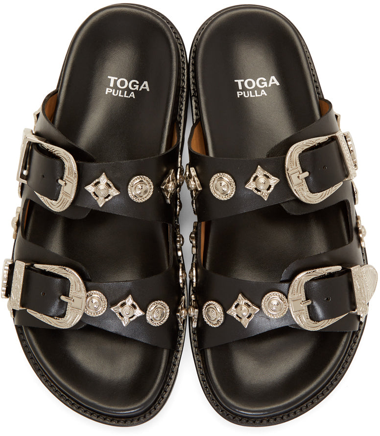 Toga Pulla - Black sandals with metal hardware