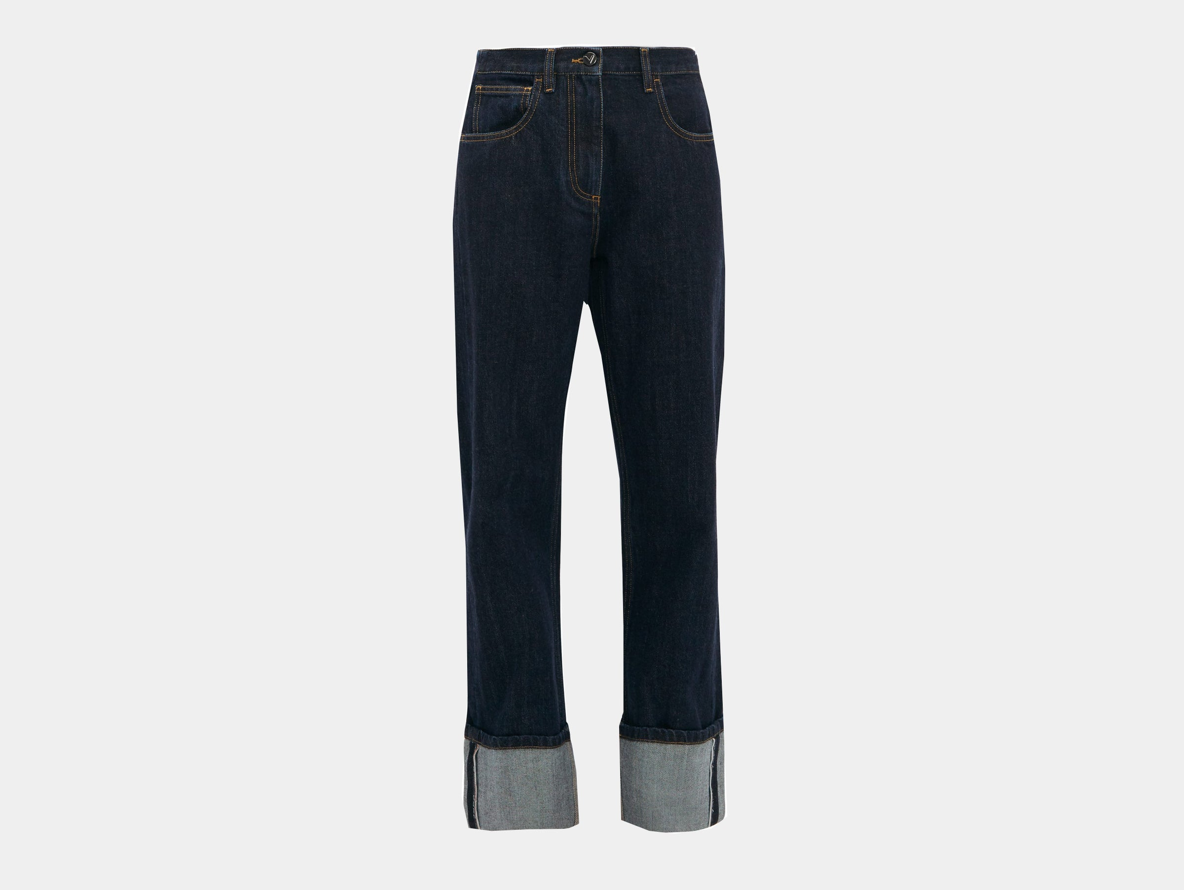 Valentino - Turn-up selvedge blue denim jeans