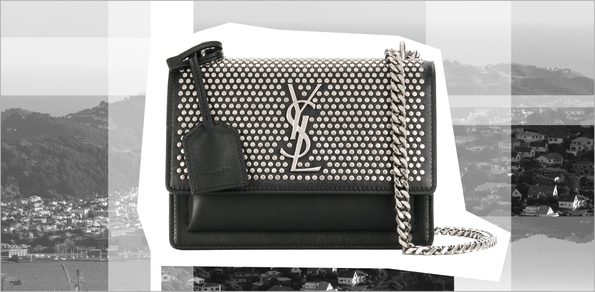 YSL Saint Laurent - Mini Black Leather and Studs City Bag