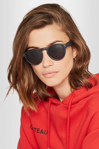 "'Leonard' Round-frame Black Acetate Sunglasses<a href=""http://shopstyle.it/l/e8Ig"" target=""_blank"">"