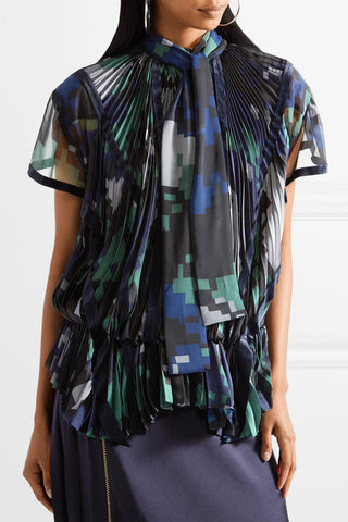 "Velvet-trimmed Pleated Printed Chiffon Blouse Top<a href=""http://shopstyle.it/l/e2WB"" target=""_blank"">"