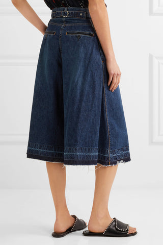 "Blue Denim Raw Hem Wide-leg Culotte Jeans<a href=""http://shopstyle.it/l/e2Xk"" target=""_blank"">"