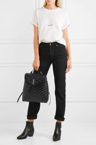 "'Loulou' Iconic YSL Quilted Black Leather Backpack<a href=""http://shopstyle.it/l/e74h"" target=""_blank"">"