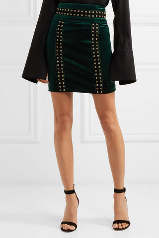 "Embellished Dark Green Cotton-blend Velvet Mini Skirt<a href=""http://shopstyle.it/l/e73b"" target=""_blank"">"