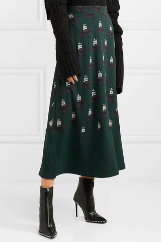 "Printed Polar Bear Bottle Green Stretch Crepe Midi Skirt<a href=""http://shopstyle.it/l/hqwY"" target=""_blank"">"