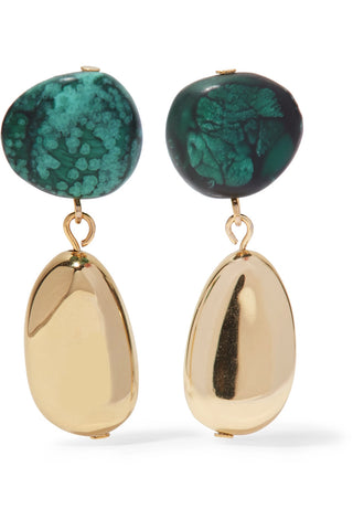 "Green Jade & Gold Drop Bead Jewelry Earrings<a href=""http://shopstyle.it/l/hv1D"" target=""_blank"">"