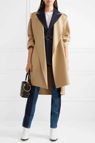 Chloé - Belted neutral wool-blend coat - front view - featured on ownmuse.com