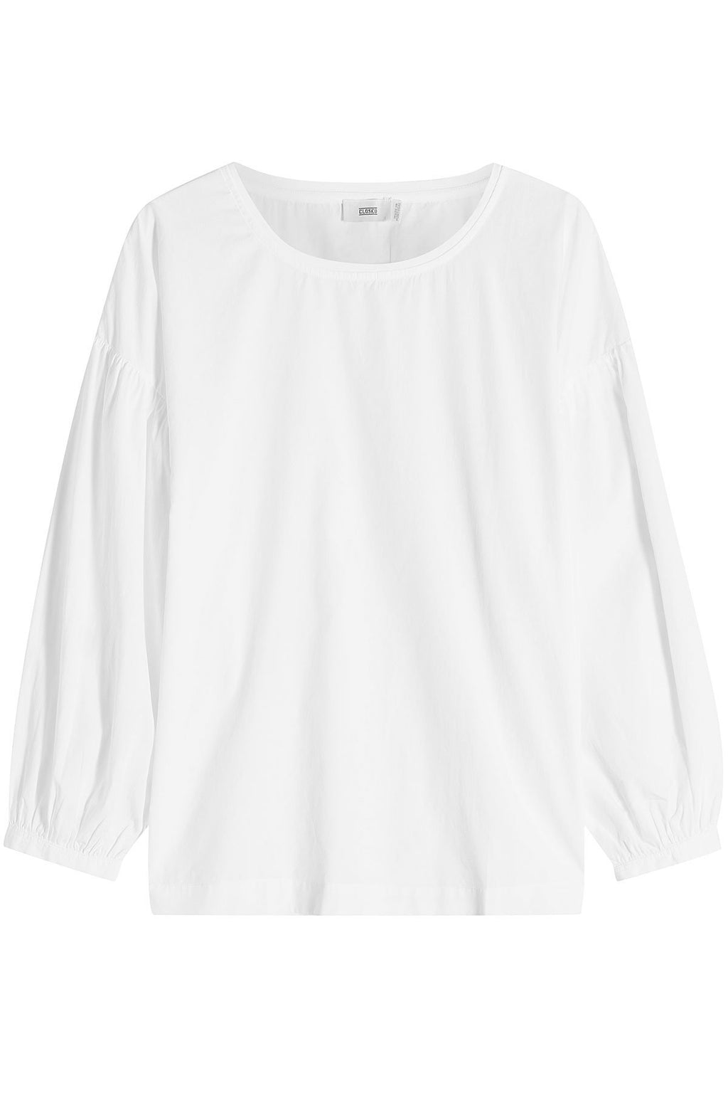 Closed - White Round-neck Long Sleeved Cotton Blouse