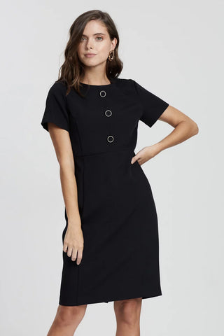 DP PETITE - Black button everyday dress