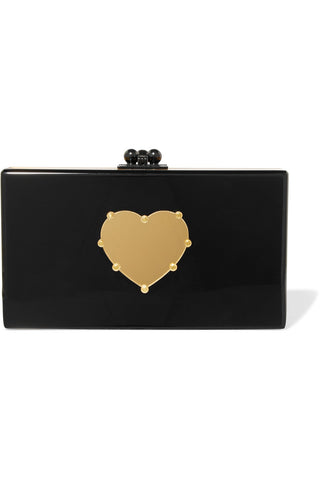 Edie Parker - Jean Black & Gold Heart Acrylic Box Clutch Bag