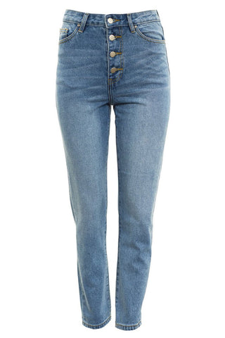 Georgia Alice - Button front blue denim jeans