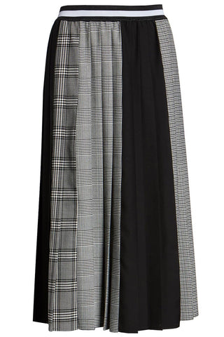 Halogen - Gray and black plaid A-line pleated skirt