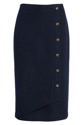 Halogen-x Atlantic Pacific - Navy blue wrap pencil skirt