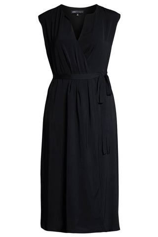 "Plus Sizes 14 - 28 Surplice Black Midi Wrap Dress<a href=""https://bit.ly/2UioMQ2"" target=""_blank"">"
