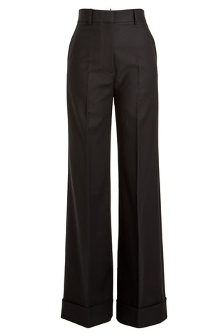 Khaite - Black high waist body sculpt wide leg trousers