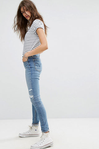 Levis - Distressed 721 High Waisted Skinny Blue Jeans