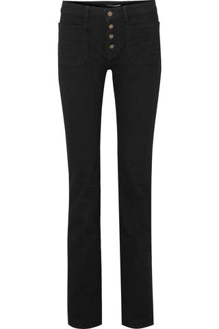 Saint Laurent - Black mid-rise denim flare jeans