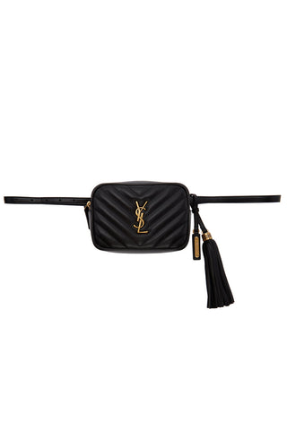 Saint Laurent - Black Leather Quilted 'Lou' Belt Bag
