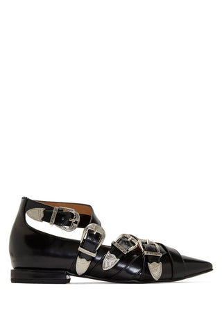 Toga Pulla - Black leather silver buckle pointed ballerina flats