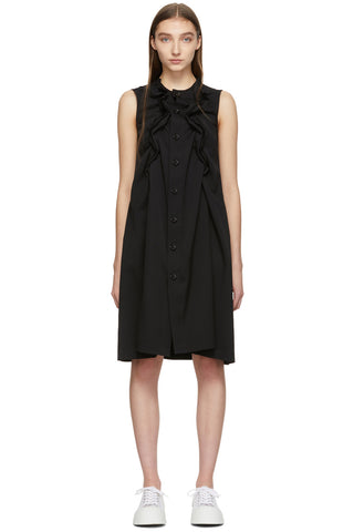 Tricot Comme des Garçons - Black Wool Ruffle Shift Button-up Dress