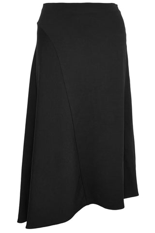 Vince - Black asymmetric stretch-crepe midi skirt