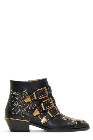Chloé - 'Susanna' black leather and studs ankle boots