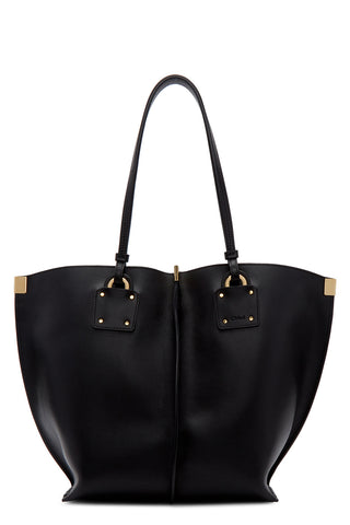 Chloé - Black leather 'Vick' tote bag