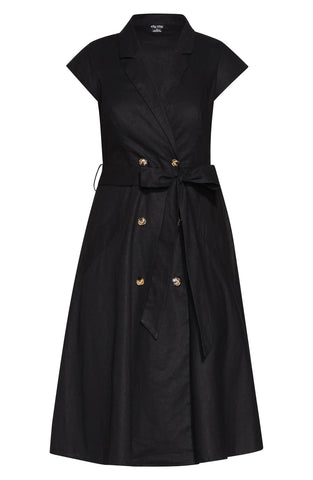 City Chic - Plus-size black button front wrap dress