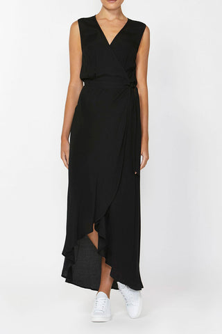 Decjuba 'Rosie' black wrap ruffle hem maxi dress front view