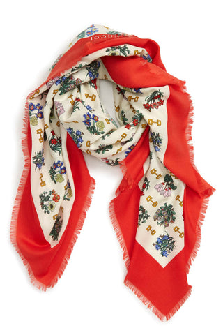 Gucci - Silk and cashmere luxe botanical, equestrian-themed scarf