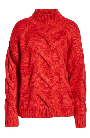 "Red Cable High Neck Sweater Jumper<a href=""http://shopstyle.it/l/UNeO"" target=""_blank"">"