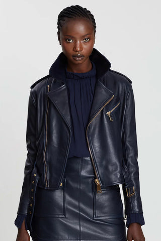 Manning Cartell - Black leather biker jacket