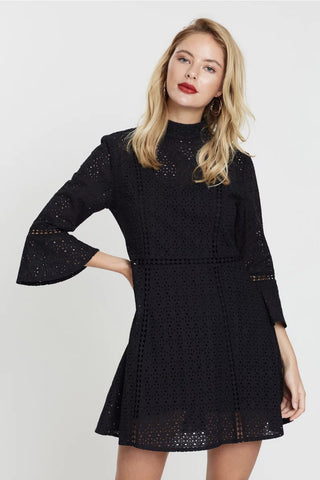 Minkpink - Black anglaise mini flare-sleeve dress