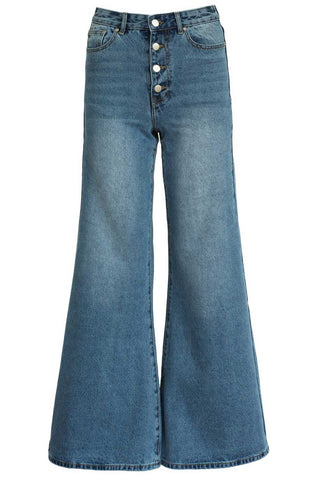 Georgia Alice - Wide-leg flare with high-rise blue denim jeans