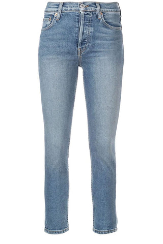Re/done - Medium blue wash denim stretch cotton skinny jeans