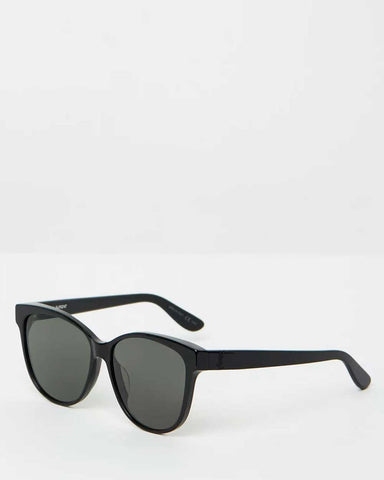 Le Specs - 'Outta love' tortoise oval sunglassesSaint Laurent - Black slim 23 round frame sunglass