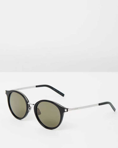 Saint Laurent - SLM203K matte black metal cat-eye round sunglasses