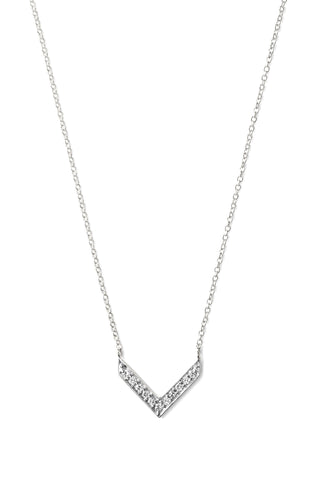 Stella & Dot - White gold diamond pointed arrow necklace