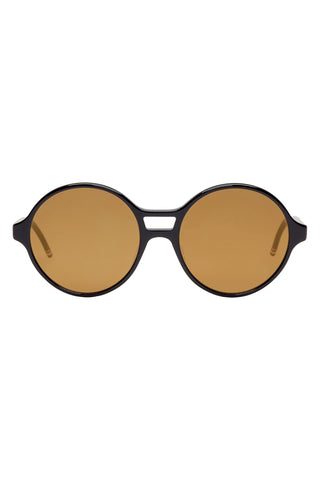 "Navy & Gold Tone Mirrored Lenses Round Sunglasses<a href=""http://shopstyle.it/l/g0PU"" target=""_blank"">"