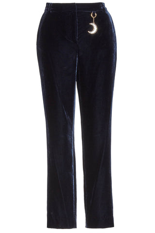 Ted Baker - Navy blue plaat velvet crop trousers pants