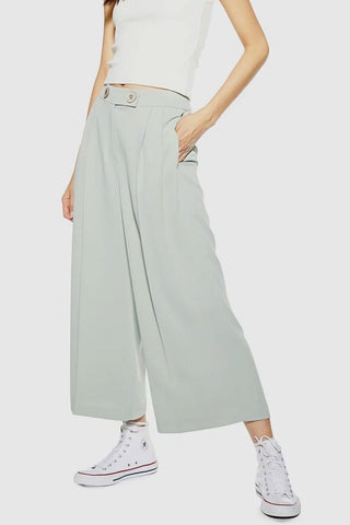 Topshop - Cropped Wide-Leg Button Trousers